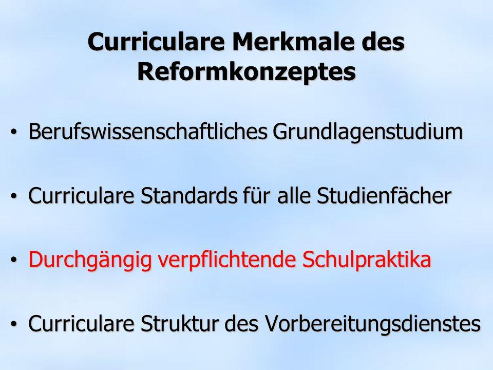 Curriculare Merkmale des Reformkonzeptes Berufswissenschaftliches Grundlagenstudium Berufswissenschaftliches Grundlagenstudium Curriculare Standards f