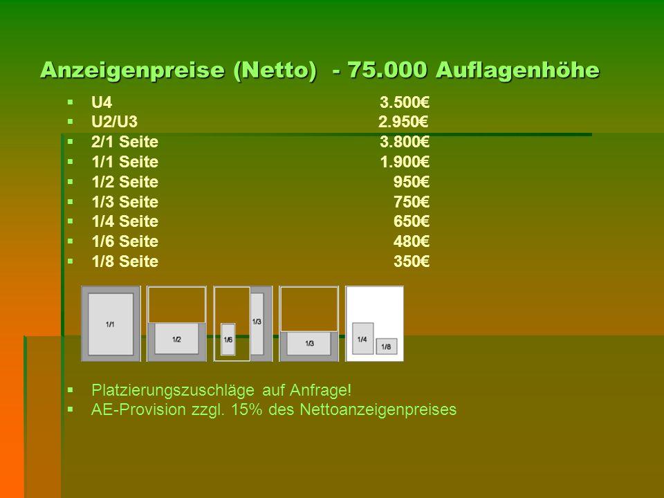 Anzeigenpreise (Netto) - 75.000 Auflagenhöhe   U4 3.500€   U2/U3 2.950€   2/1 Seite 3.800€   1/1 Seite 1.900€   1/2 Seite 950€   1/3 Seite