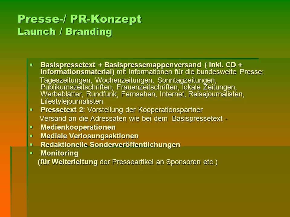 Presse-/ PR-Konzept Launch / Branding  Basispressetext + Basispressemappenversand ( inkl. CD + Informationsmaterial) mit Informationen für die bundes