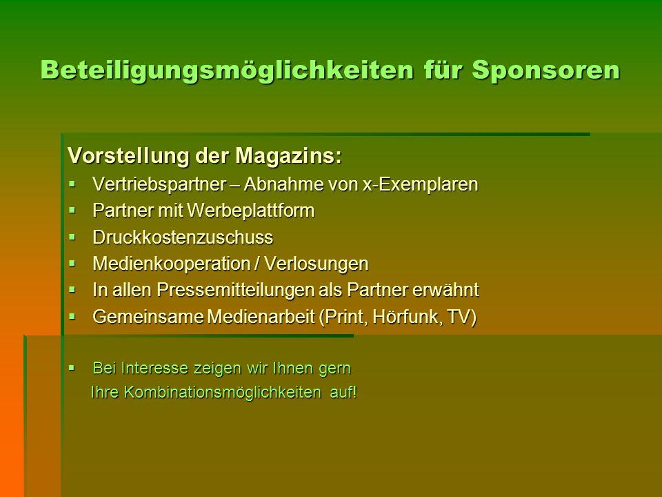 Beteiligungsmöglichkeiten für Sponsoren Vorstellung der Magazins:  Vertriebspartner – Abnahme von x-Exemplaren  Partner mit Werbeplattform  Druckko