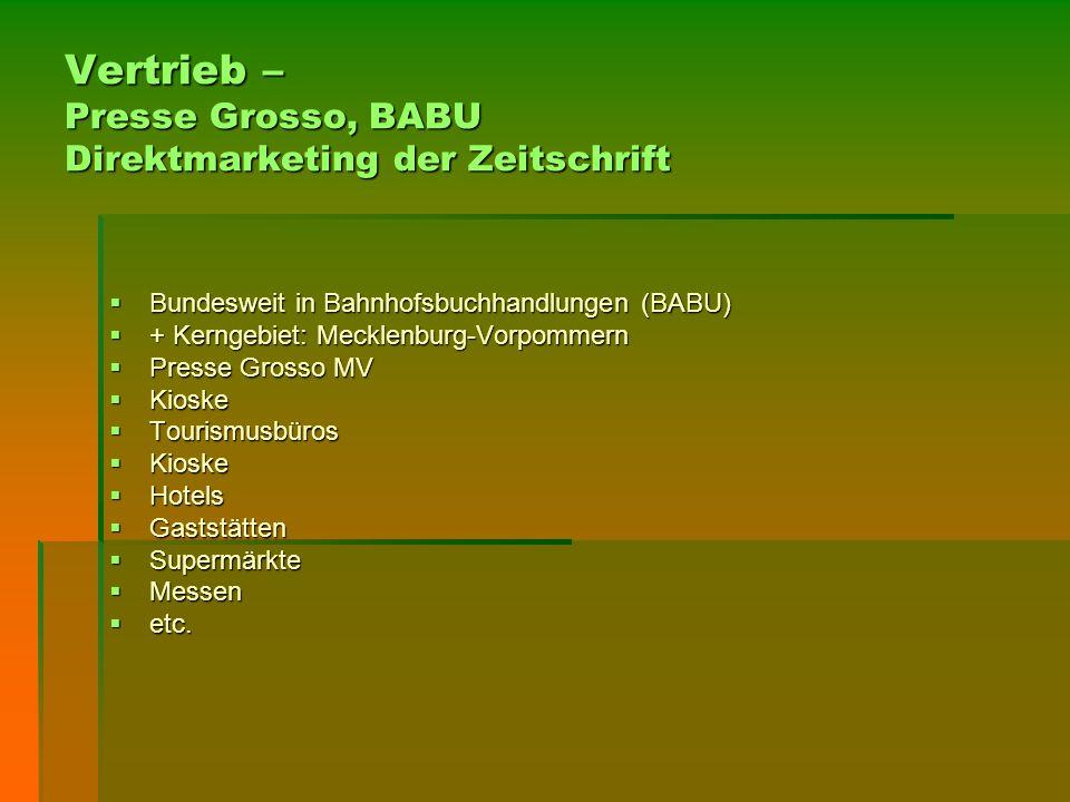 Vertrieb – Presse Grosso, BABU Direktmarketing der Zeitschrift  Bundesweit in Bahnhofsbuchhandlungen (BABU)  + Kerngebiet: Mecklenburg-Vorpommern 