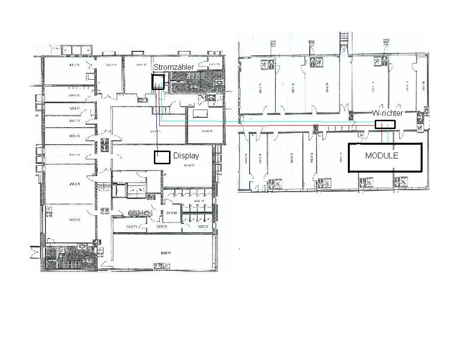 Fundament: Betonplatten, um undichte Stellen im Dach zu vermeiden Aufstellung: 30° Neigung Ausrichtung: In Südliche Richtung, um maximalen Energieertrag zu erhalten Aufständerung
