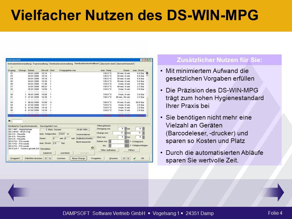 DAMPSOFT Software Vertrieb GmbH  Vogelsang 1  24351 Damp Folie 4 Vielfacher Nutzen des DS-WIN-MPG Mit minimiertem Aufwand die gesetzlichen Vorgaben