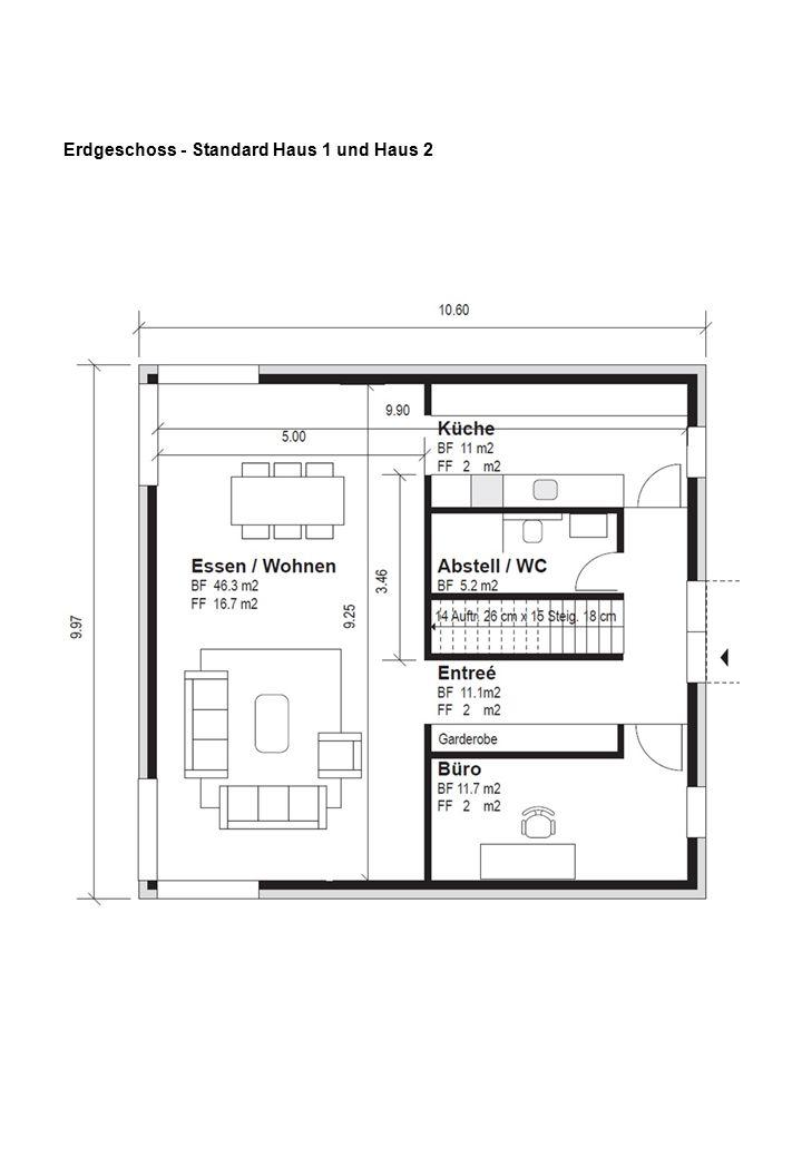 Erdgeschoss - Standard Haus 1 und Haus 2