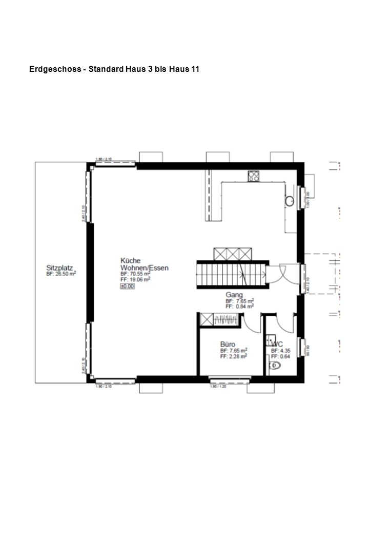 Erdgeschoss - Standard Haus 3 bis Haus 11