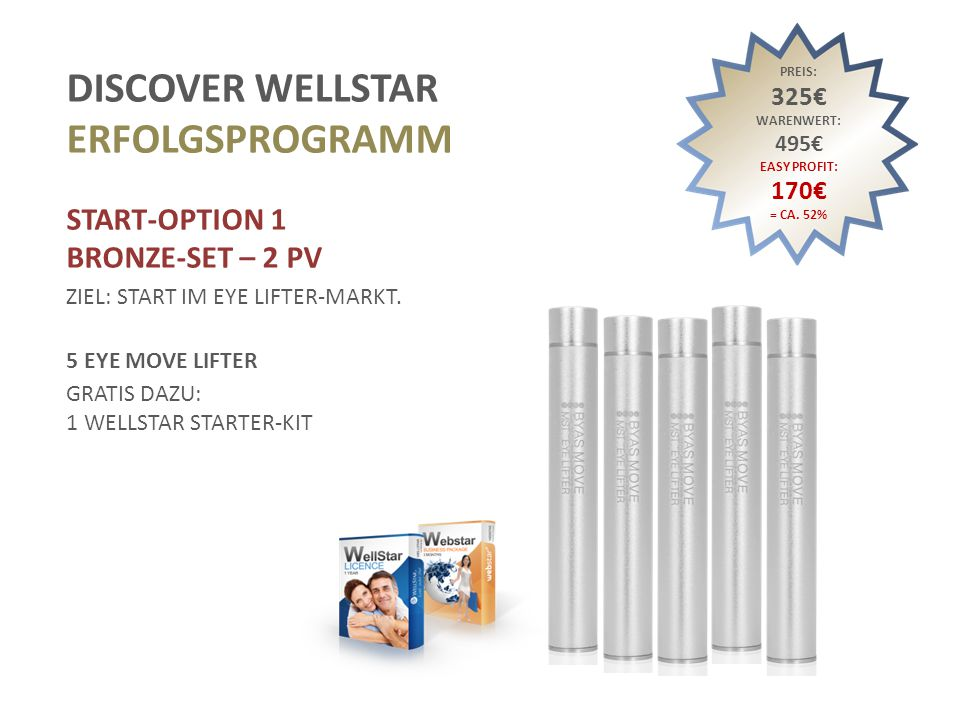 DISCOVER WELLSTAR ERFOLGSPROGRAMM START-OPTION 1 BRONZE-SET – 2 PV ZIEL: START IM EYE LIFTER-MARKT.