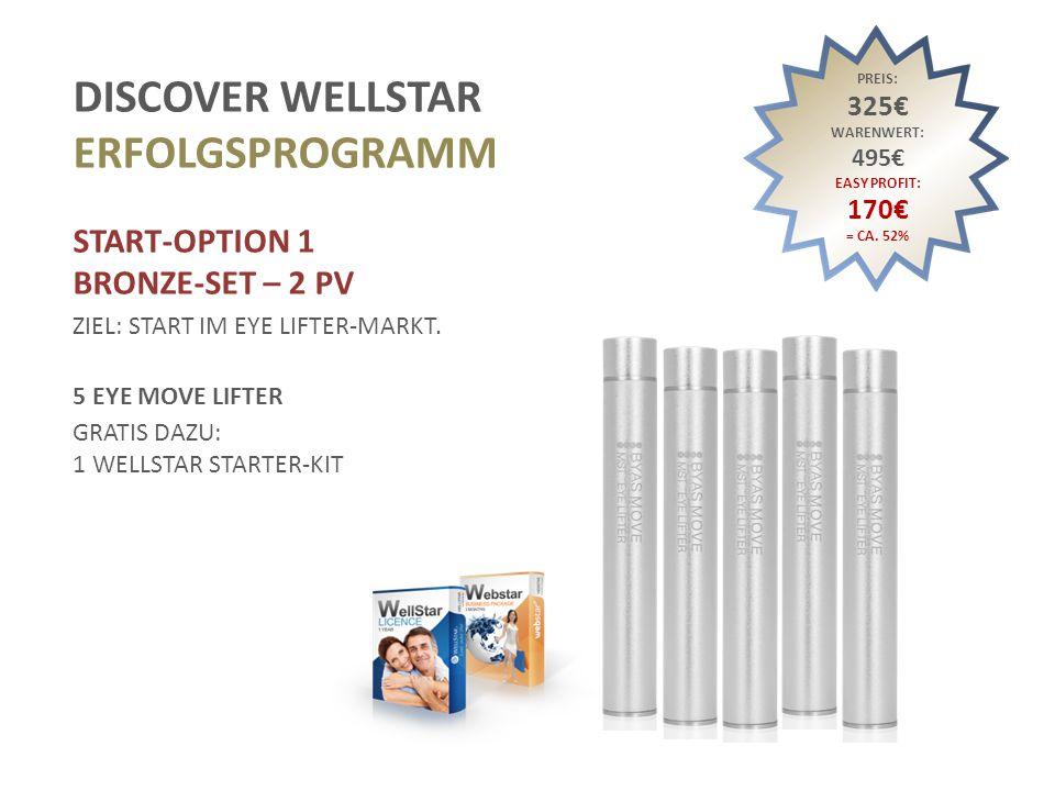 DISCOVER WELLSTAR ERFOLGSPROGRAMM START-OPTION 2 SILVER-KIT – 5 PV ZIEL: START IM EYE LIFTER-, FACE LIFTER- ODER BODY LIFTER-MARKT.