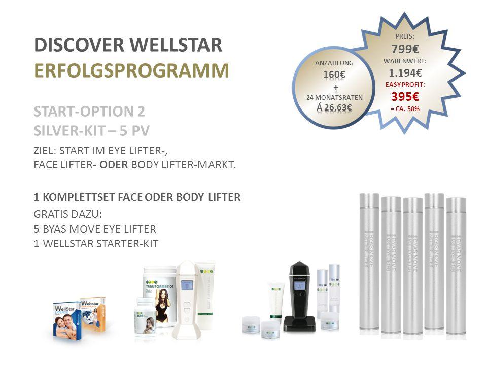 DISCOVER WELLSTAR ERFOLGSPROGRAMM START-OPTION 3 GOLD-SET – 10 PV ZIEL: START IM EYE LIFTER, FACE LIFTER- UND BODY LIFTER-MARKT.