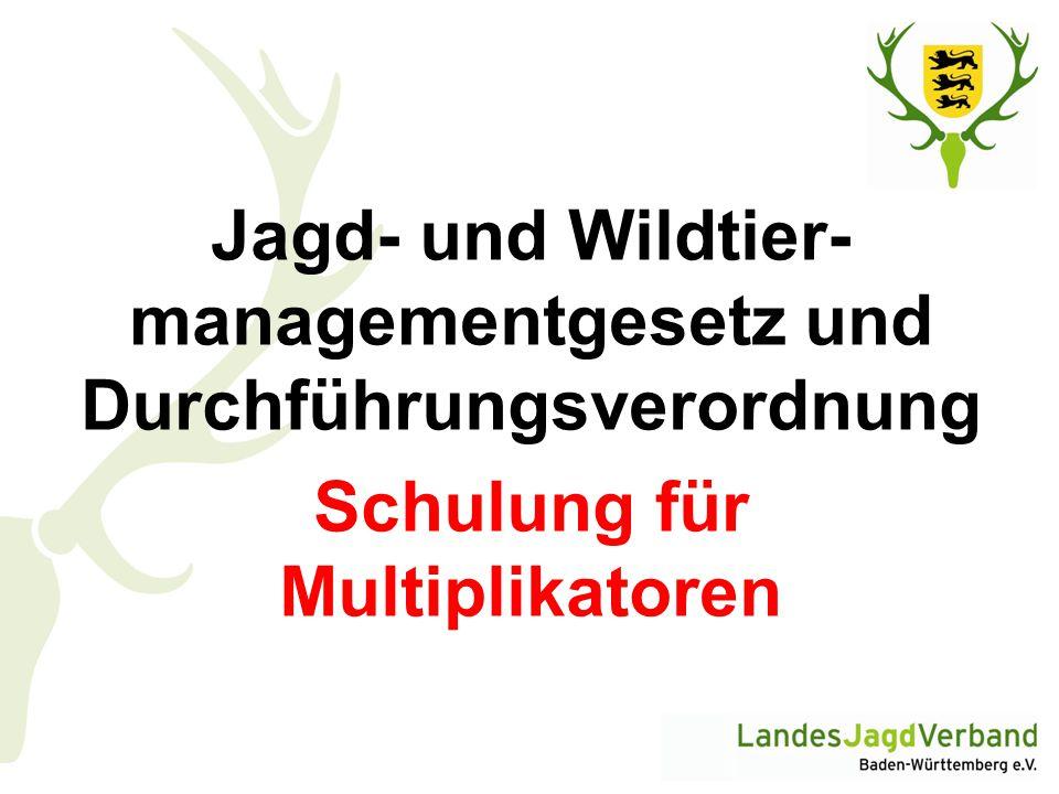 Wildschadensschätzerinnen und Wildschadensschätzer (DVO § 16)  Wildschadensschätzer sind nicht mehr ehrenamtlich im Auftrag der Gemeinde tätig, sondern können von den beteiligten Parteien angefordert werden  Einsatz gegen angemessene Gebühren  Kosten für Wildschadensschätzer trägt derjenige, der den Schätzer beizieht  LJV: Fortbildung von Wildschadensberatern für JAB  Rechtsschutz der Gruppenversicherungen gilt auch bei Wildschadensverfahren