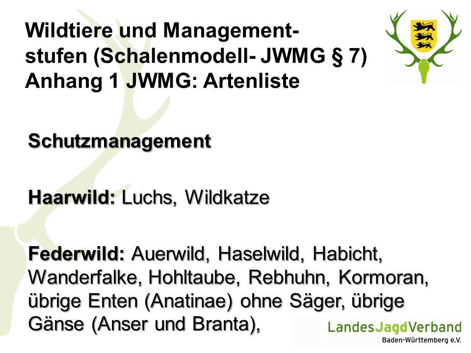 Wildtiere und Management- stufen (Schalenmodell- JWMG § 7) Anhang 1 JWMG: Artenliste Schutzmanagement Haarwild: Luchs, Wildkatze Federwild: Auerwild,