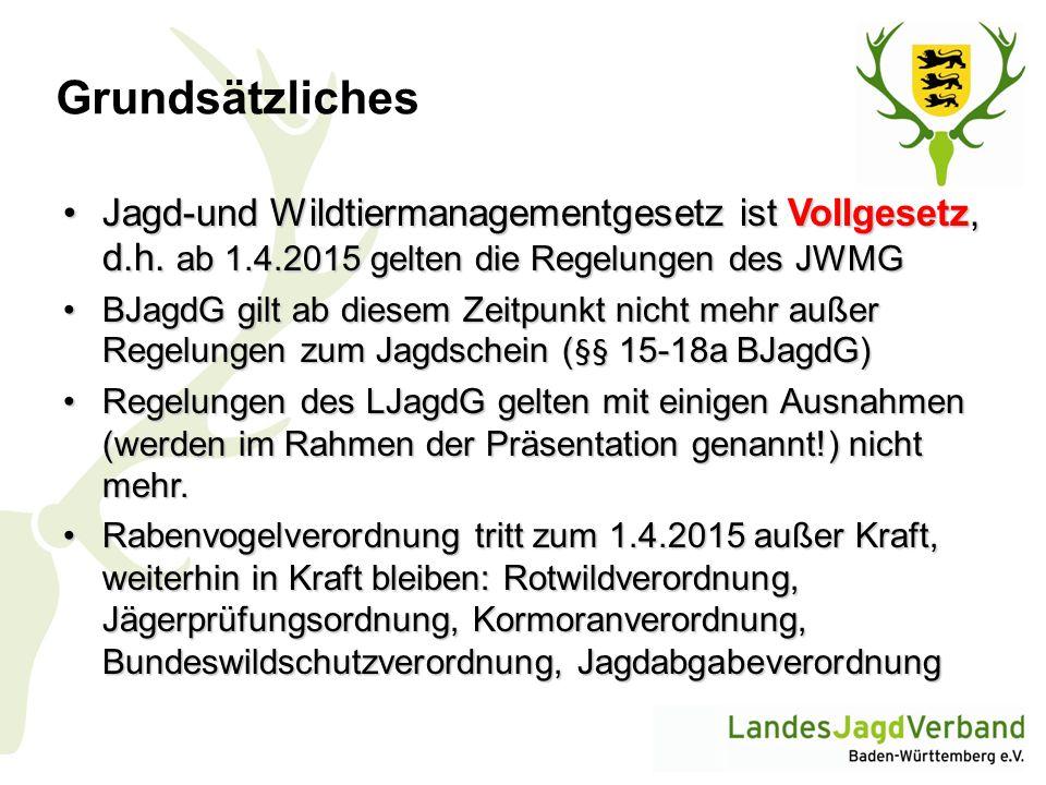 Wildtiere und Management- stufen (JWMG § 7) Anhang 1 JWMG: Artenliste Nutzungsmanagement Haarwild: Rotwild, Sikawild, Damwild, Gamswild, Muffelwild, Rehwild, Schwarzwild, Fuchs, Dachs, Hermelin, Marderhund, Mink, Nutria, Steinmarder, Waschbär, Wildkaninchen Federwild : Stockente, Tafelente, Reiherente, Blässhuhn, Höckerschwan, Kanadagans, Nilgans, Rabenkrähe, Elster, Ringeltaube, Türkentaube
