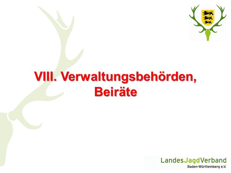 VIII. Verwaltungsbehörden, Beiräte