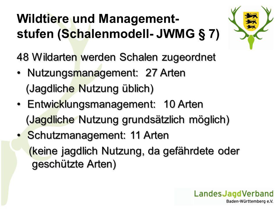 Wildtiere und Management- stufen (Schalenmodell- JWMG § 7) 48 Wildarten werden Schalen zugeordnet Nutzungsmanagement: 27 ArtenNutzungsmanagement: 27 A
