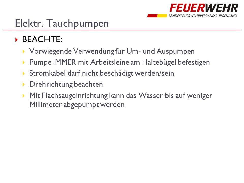 Elektr. Tauchpumpen  BEACHTE:  Vorwiegende Verwendung für Um- und Auspumpen  Pumpe IMMER mit Arbeitsleine am Haltebügel befestigen  Stromkabel dar