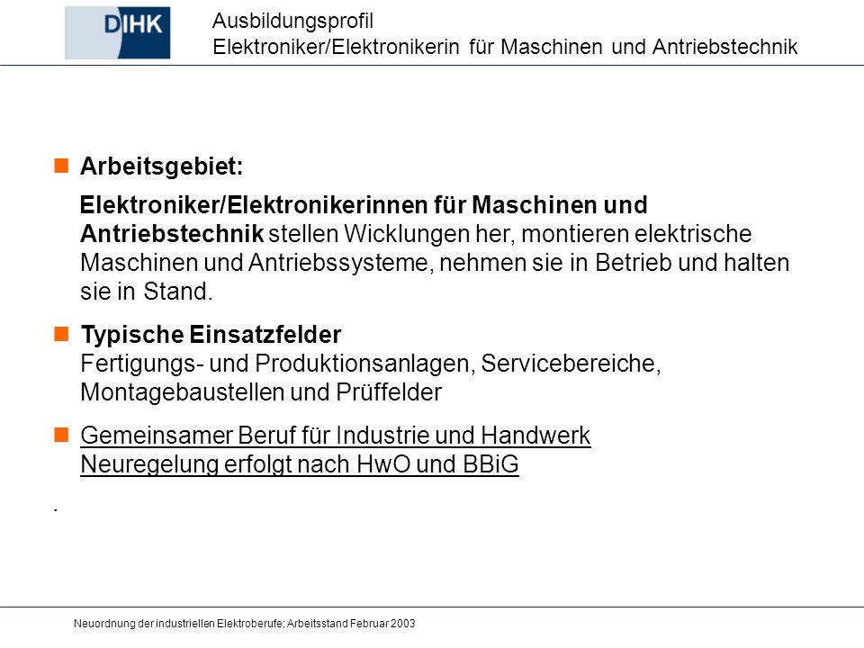 Neuordnung der industriellen Elektroberufe; Arbeitsstand Februar 2003 Arbeitsgebiet: Elektroniker/Elektronikerinnen für Maschinen und Antriebstechnik