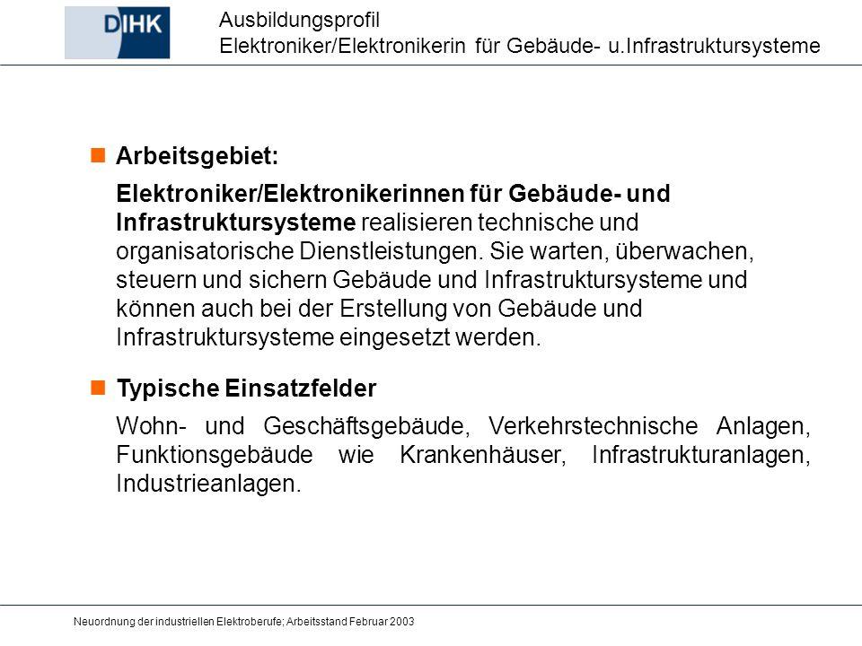 Neuordnung der industriellen Elektroberufe; Arbeitsstand Februar 2003 Ausbildungsprofil Elektroniker/Elektronikerin für Gebäude- u.Infrastruktursystem