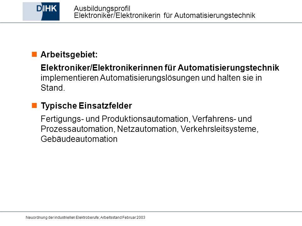 Neuordnung der industriellen Elektroberufe; Arbeitsstand Februar 2003 Arbeitsgebiet: Elektroniker/Elektronikerinnen für Automatisierungstechnik implem