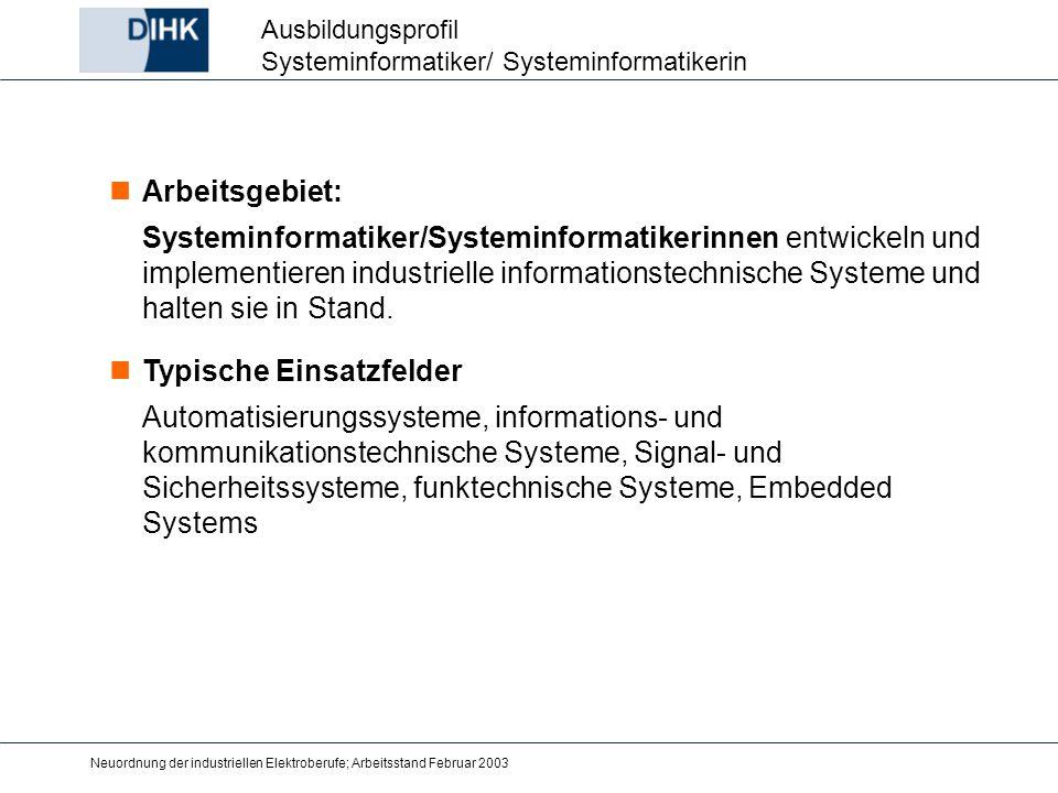Neuordnung der industriellen Elektroberufe; Arbeitsstand Februar 2003 Arbeitsgebiet: Systeminformatiker/Systeminformatikerinnen entwickeln und impleme