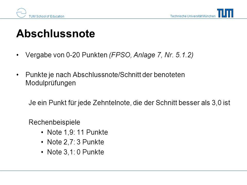 Technische Universität München TUM School of Education Abschlussnote Vergabe von 0-20 Punkten (FPSO, Anlage 7, Nr. 5.1.2) Punkte je nach Abschlussnote