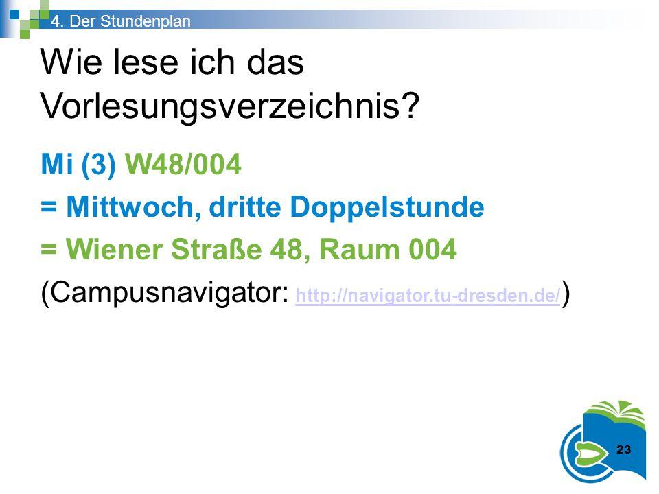 Wie lese ich das Vorlesungsverzeichnis? Mi (3) W48/004 = Mittwoch, dritte Doppelstunde = Wiener Straße 48, Raum 004 (Campusnavigator: http://navigator