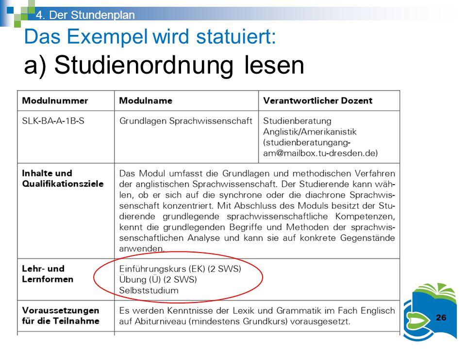 Das Exempel wird statuiert: a) Studienordnung lesen 4. Der Stundenplan 26