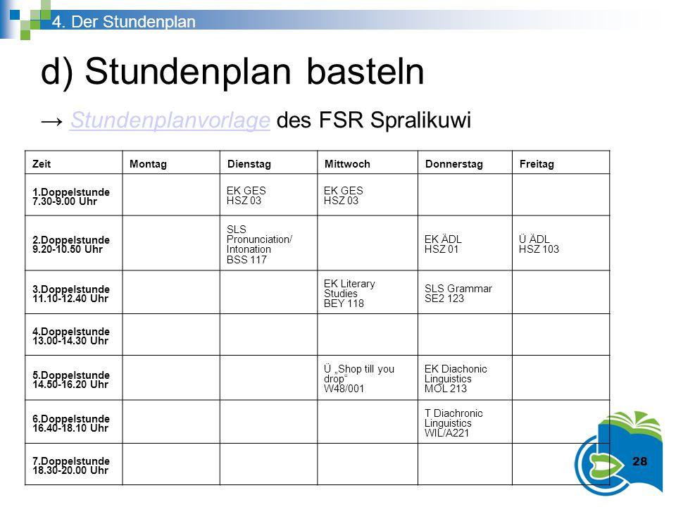 d) Stundenplan basteln → Stundenplanvorlage des FSR SpralikuwiStundenplanvorlage 4. Der Stundenplan ZeitMontagDienstagMittwochDonnerstagFreitag 1.Dopp