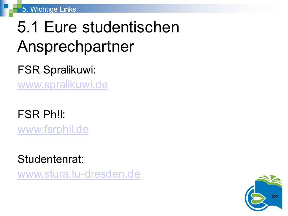 5.1 Eure studentischen Ansprechpartner FSR Spralikuwi: www.spralikuwi.de FSR Ph!l: www.fsrphil.de Studentenrat: www.stura.tu-dresden.de 5. Wichtige Li