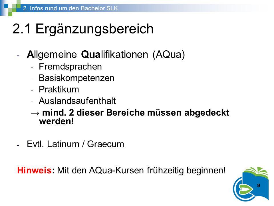 2.1 Ergänzungsbereich - Allgemeine Qualifikationen (AQua) - Fremdsprachen - Basiskompetenzen - Praktikum - Auslandsaufenthalt → mind. 2 dieser Bereich