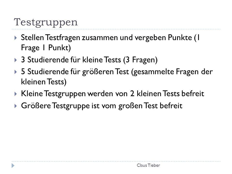Testgruppen Claus Tieber  Stellen Testfragen zusammen und vergeben Punkte (1 Frage 1 Punkt)  3 Studierende für kleine Tests (3 Fragen)  5 Studieren