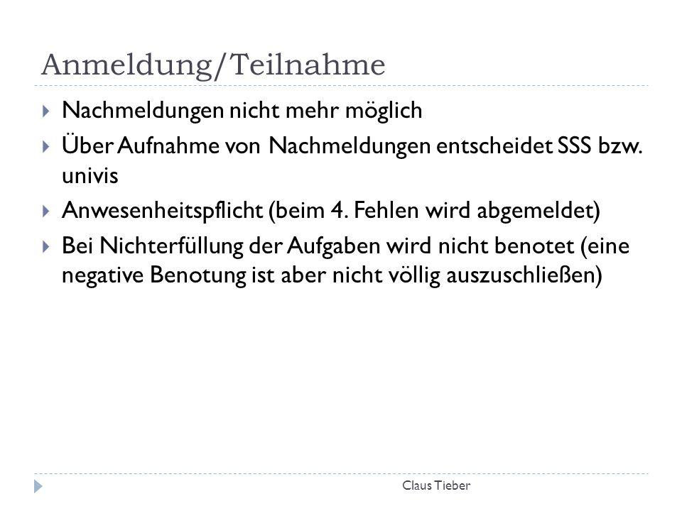Bachelor-Arbeit Claus Tieber  Bachelor-Arbeiten sind in dieser UE möglich  Anmeldung dazu innerhalb der ersten vier Wochen der LV (19.11.)  Bachelorarbeit muss auf Szenenanalyse basieren, Themen müssen genehmigt werden  Ersetzt NICHT die Teilleistungen der UE  Umfang: ca.