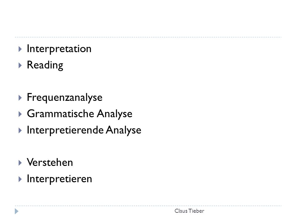 Claus Tieber  Interpretation  Reading  Frequenzanalyse  Grammatische Analyse  Interpretierende Analyse  Verstehen  Interpretieren