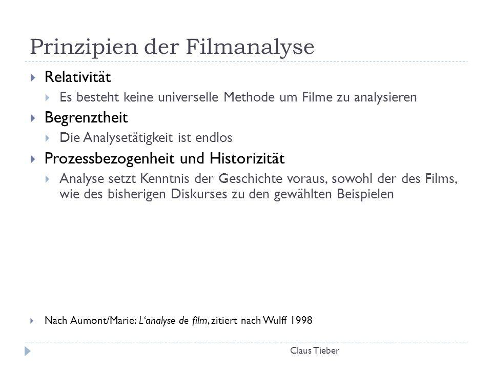 Prinzipien der Filmanalyse Claus Tieber  Relativität  Es besteht keine universelle Methode um Filme zu analysieren  Begrenztheit  Die Analysetätig