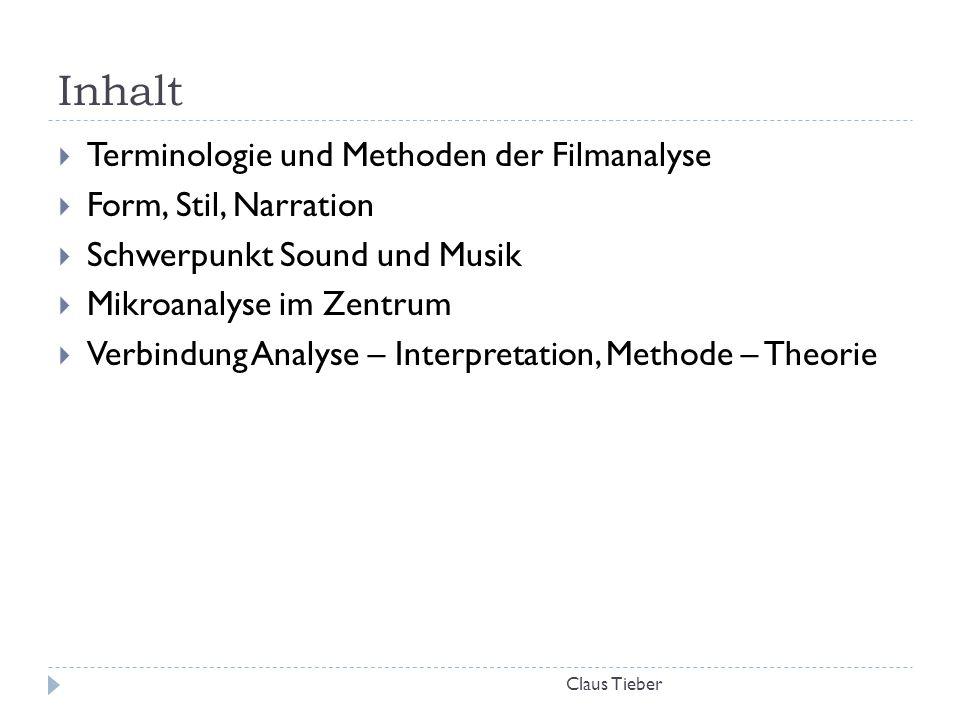 Inhalt Claus Tieber  Terminologie und Methoden der Filmanalyse  Form, Stil, Narration  Schwerpunkt Sound und Musik  Mikroanalyse im Zentrum  Verb