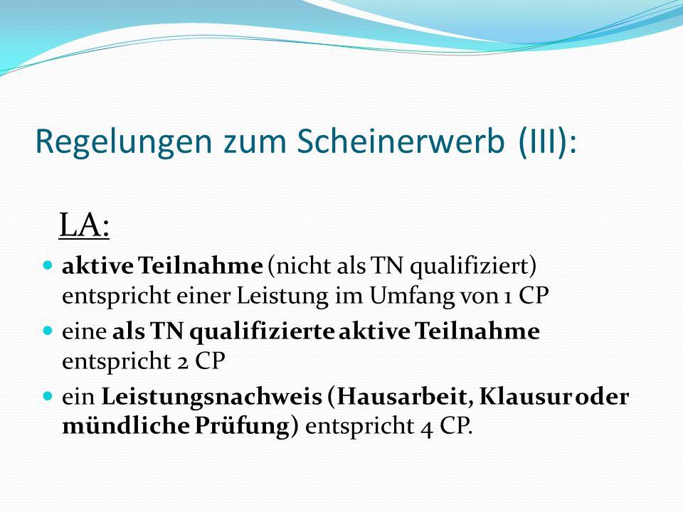 Regelungen zum Scheinerwerb (III): LA: aktive Teilnahme (nicht als TN qualifiziert) entspricht einer Leistung im Umfang von 1 CP eine als TN qualifizi