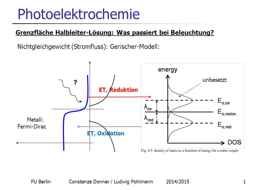FU Berlin Constanze Donner / Ludwig Pohlmann 2014/201512 Photoelektrochemie Analog mit p-Halbleitern: Spannungsquelle auf Basis der Photoreduktion: Beispiel: p-MoS 2 / Fe 3+ / Fe 2+ / Pt PhotoelektrodeGegenelektrode e-e- Ox Red EgEg h e-e- e-e- R Ox Red Direkt: Lichtenergie  elektrische Energie