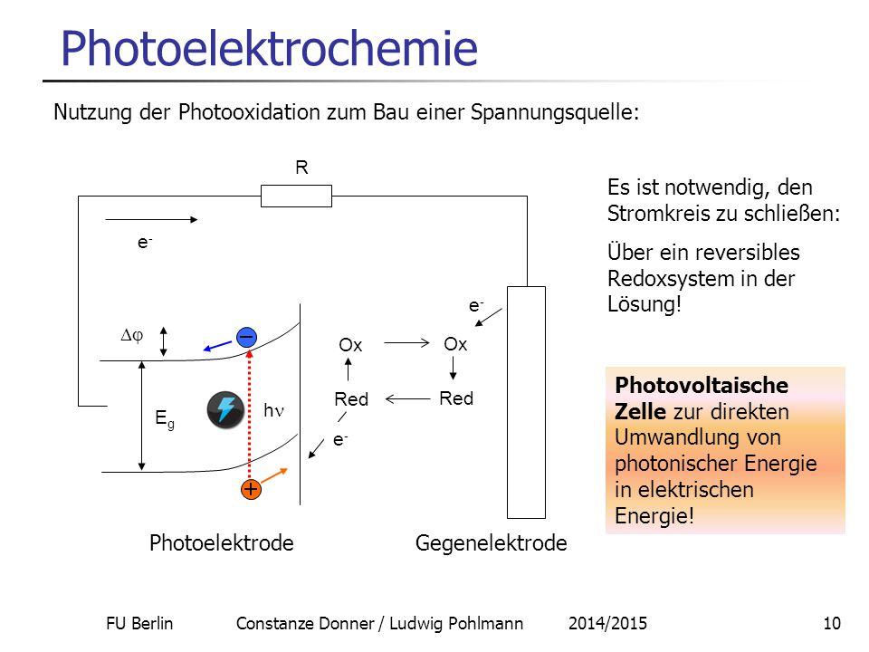 FU Berlin Constanze Donner / Ludwig Pohlmann 2014/201510 Photoelektrochemie Nutzung der Photooxidation zum Bau einer Spannungsquelle: Ox Red EgEg  h