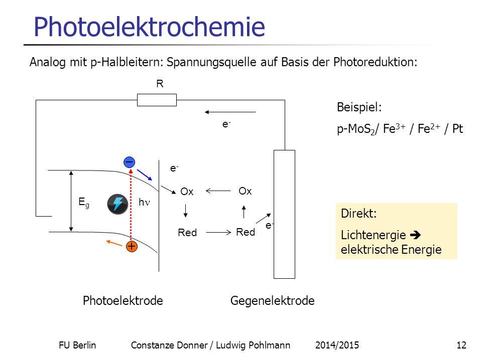 FU Berlin Constanze Donner / Ludwig Pohlmann 2014/201512 Photoelektrochemie Analog mit p-Halbleitern: Spannungsquelle auf Basis der Photoreduktion: Be
