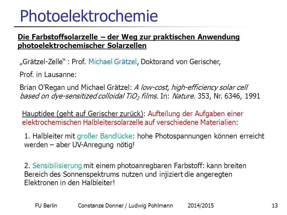 FU Berlin Constanze Donner / Ludwig Pohlmann 2014/201513 Photoelektrochemie Die Farbstoffsolarzelle – der Weg zur praktischen Anwendung photoelektroch