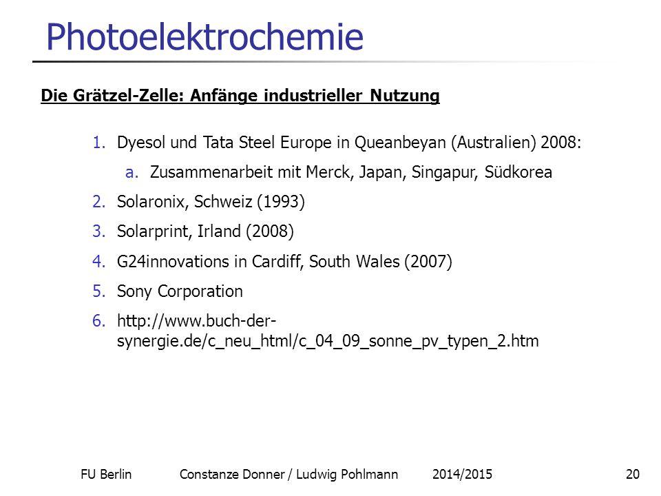 FU Berlin Constanze Donner / Ludwig Pohlmann 2014/201520 Photoelektrochemie Die Grätzel-Zelle: Anfänge industrieller Nutzung 1.Dyesol und Tata Steel E