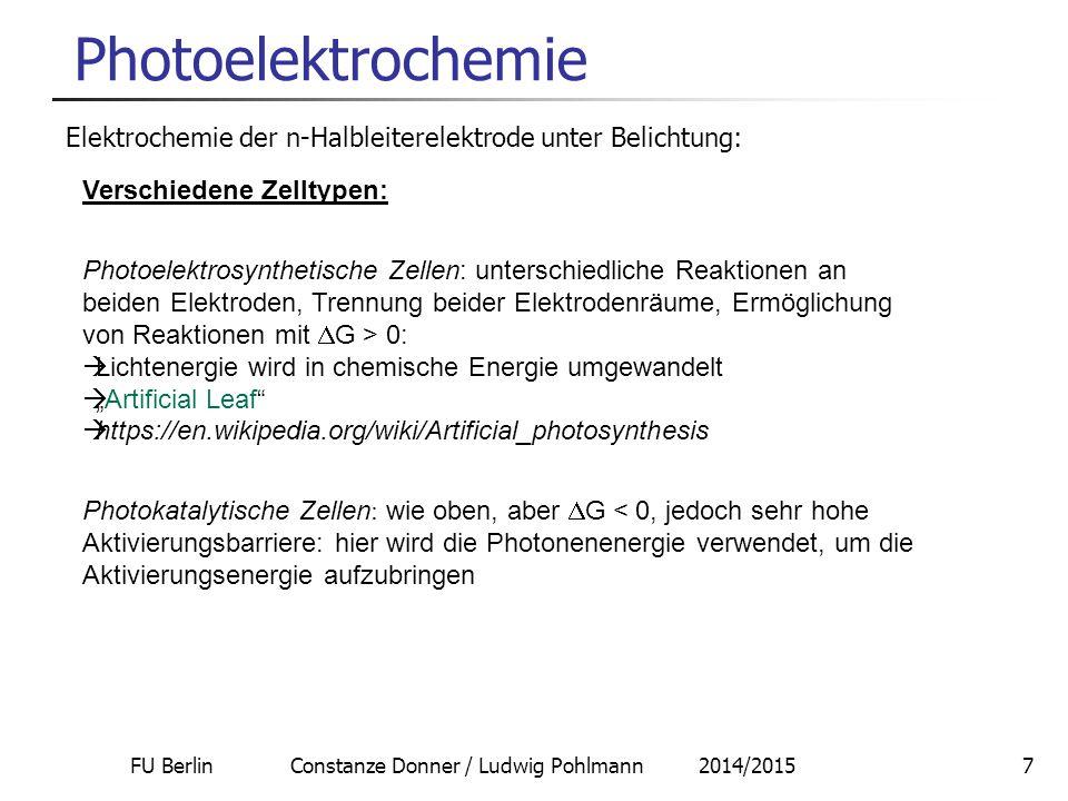 FU Berlin Constanze Donner / Ludwig Pohlmann 2014/20158 Photoelektrochemie Photoelektrosynthesezelle: Bildquelle: Wikimedia Commons: Autor: Jcwf Direkt: Lichtenergie  Wasserzerlegung in H 2 und O 2 (chemische Energie) Wirkungsgrad 10% Problem: Korrosion!