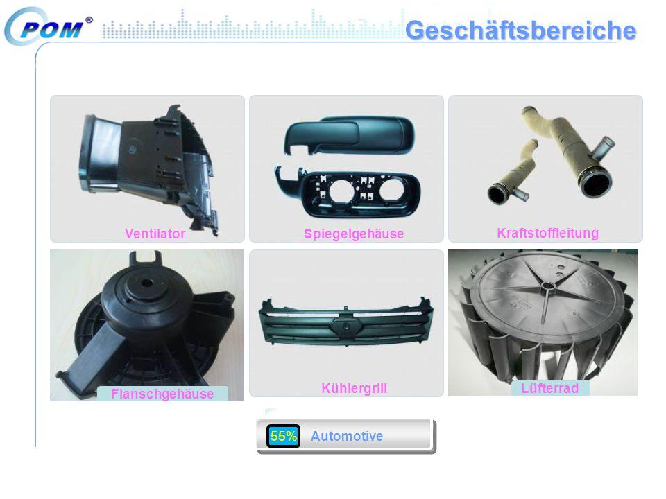 Geschäftsbereiche Ventilator Spiegelgehäuse Kraftstoffleitung Lüfterrad Others Kühlergrill Flanschgehäuse 55% Automotive