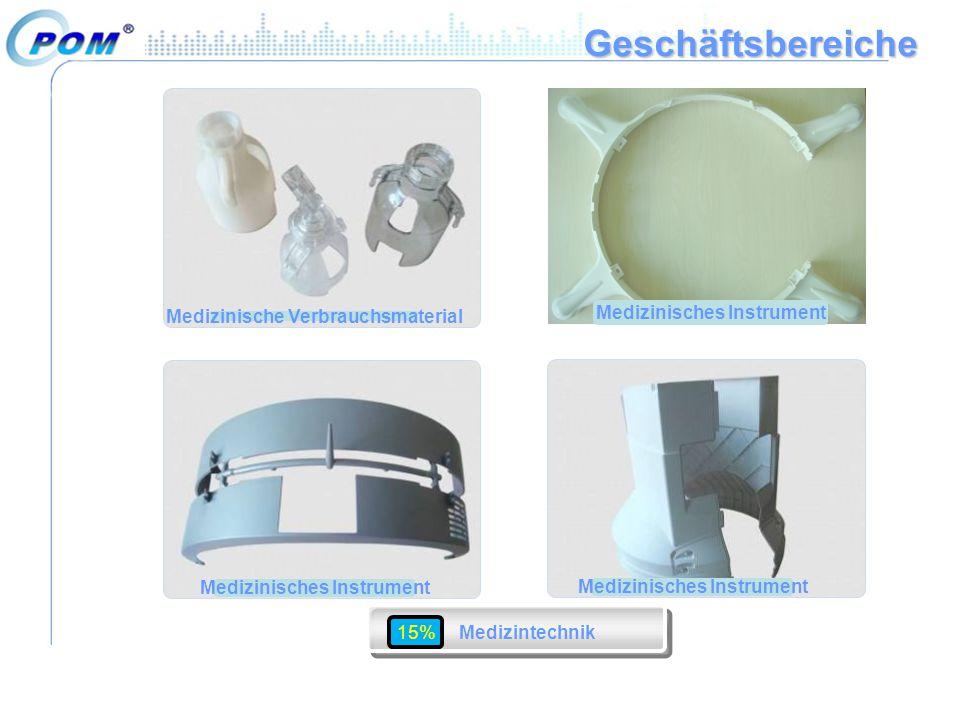 Geschäftsbereiche Medizinische Verbrauchsmaterial Medizinisches Instrument 15% Medizintechnik