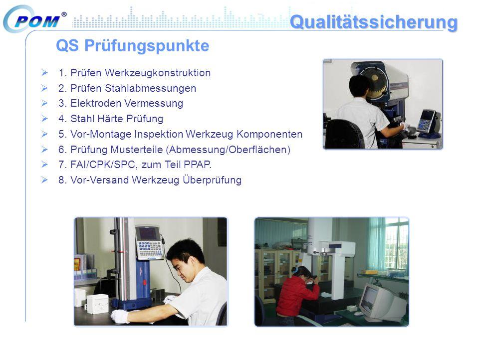 Qualitätssicherung QS Prüfungspunkte  1. Prüfen Werkzeugkonstruktion  2. Prüfen Stahlabmessungen  3. Elektroden Vermessung  4. Stahl Härte Prüfung