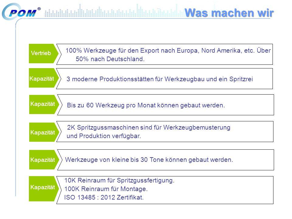 Vertrieb 100% Werkzeuge für den Export nach Europa, Nord Amerika, etc. Über 50% nach Deutschland. Bis zu 60 Werkzeug pro Monat können gebaut werden. K