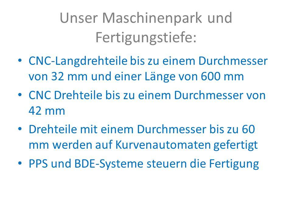 Unser Maschinenpark und Fertigungstiefe: CNC-Langdrehteile bis zu einem Durchmesser von 32 mm und einer Länge von 600 mm CNC Drehteile bis zu einem Durchmesser von 42 mm Drehteile mit einem Durchmesser bis zu 60 mm werden auf Kurvenautomaten gefertigt PPS und BDE-Systeme steuern die Fertigung