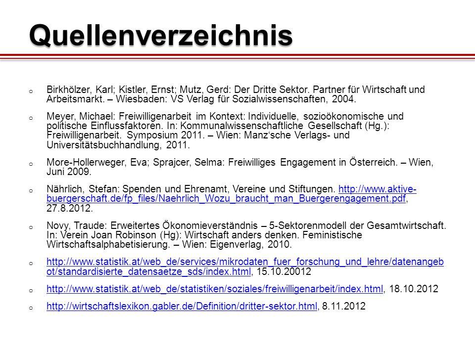 Quellenverzeichnis o Birkhölzer, Karl; Kistler, Ernst; Mutz, Gerd: Der Dritte Sektor.