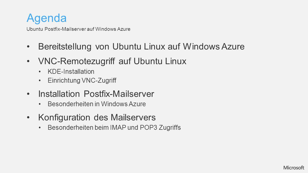 In der Windows Azure Galerie können verschiedene Linux Distributionen ausgewählt werden OpenLogic Cent OS 6.2SuSe Linux Enterprise ServerUbuntu Server 12.04 Storage Accounts in Windows Azure Affinity Groups in Windows Azure Nach der Installation sollte mit su passwd sofort das Root- Passwort geändert werden  Ausschluss der sudoers User nach Paketinstallationen Bereitstellung von Ubuntu Linux auf Windows Azure