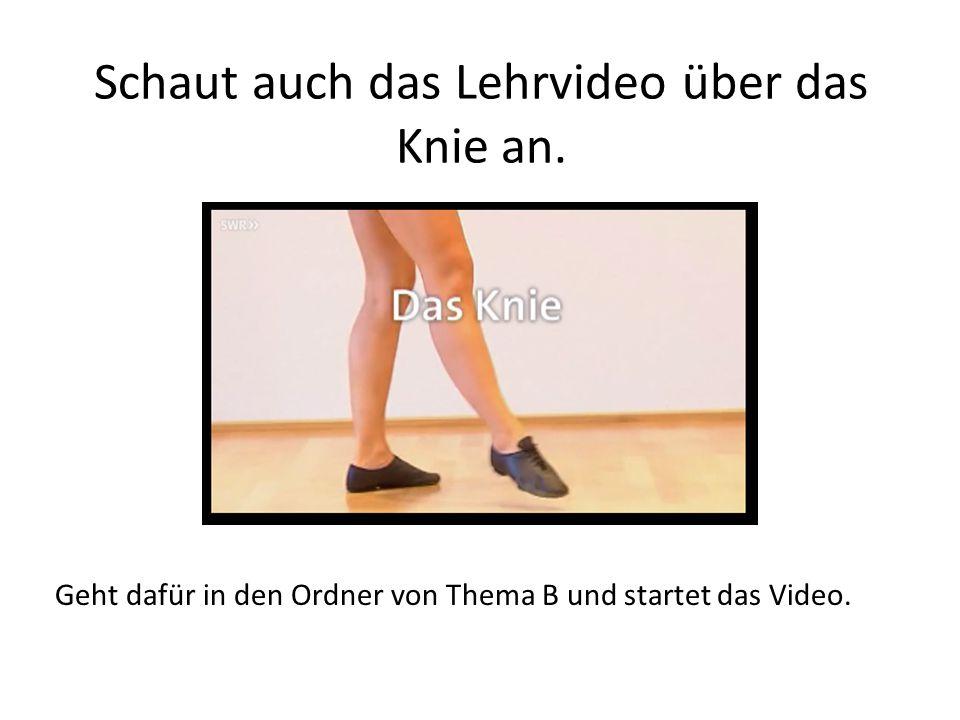 Schaut auch das Lehrvideo über das Knie an. Geht dafür in den Ordner von Thema B und startet das Video.