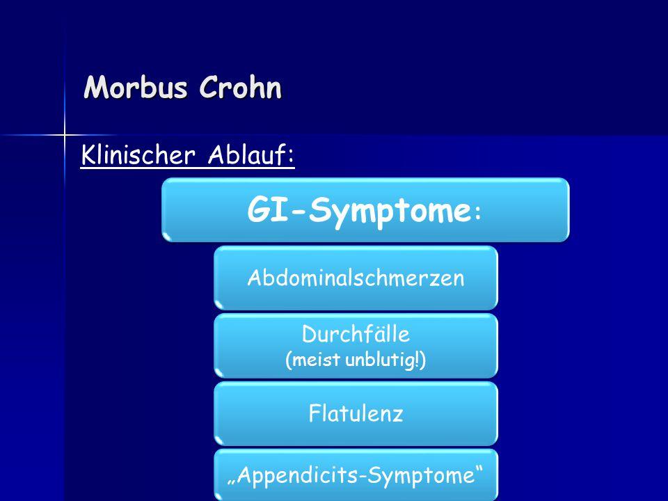 Morbus Crohn Extraintestinale.-Symptome : Klinischer Ablauf: Fisteln (40%!) Anorektale Abszesse (25%) Gelenkprobleme (20%) Augenent- zündungen (7%) !.