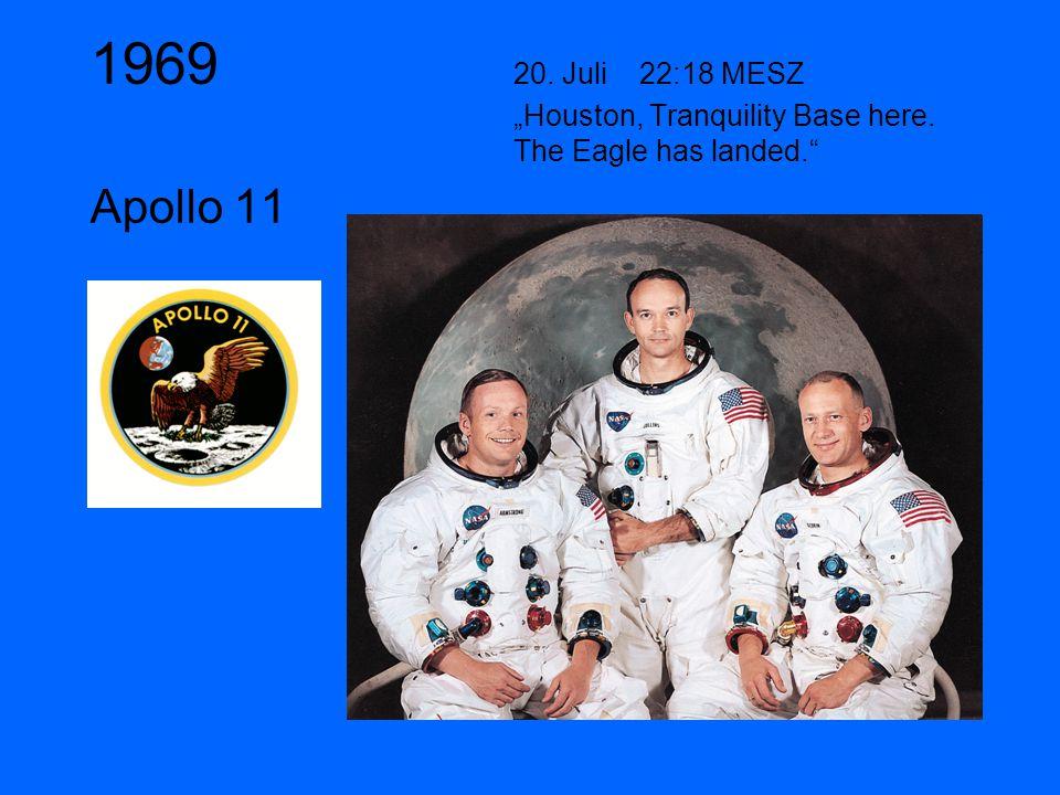 "1969 20. Juli 22:18 MESZ ""Houston, Tranquility Base here. The Eagle has landed. Apollo 11"
